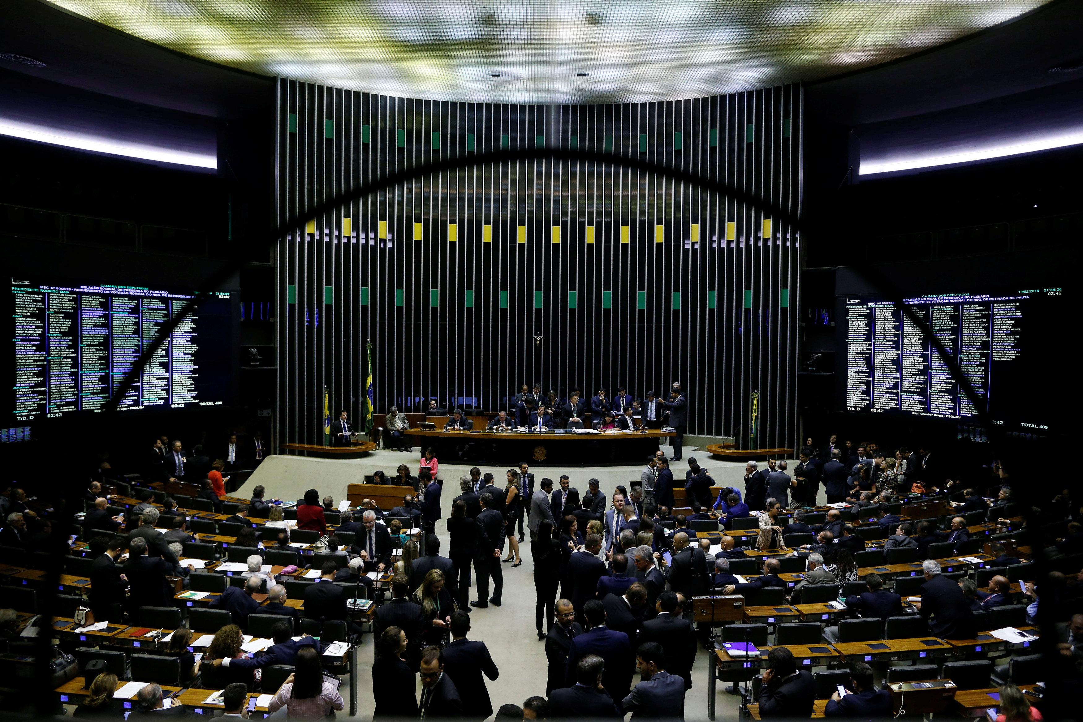 Members of the lower chamber of Brazil's Congress attend a session to vote on the decree of the army to take over command of police forces in Rio de Janeiro state, at Brazilian national Congress in Brasilia, Brazil February 19, 2018. Adriano Machado