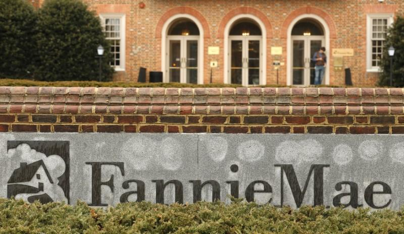 A stands outside Fannie Mae headquarters in Washington February 21, 2014. Kevin Lamarque