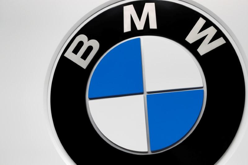 The BMW booth displays the company logo at the North American International Auto Show in Detroit, Michigan, U.S. January 16, 2018.  Jonathan Ernst