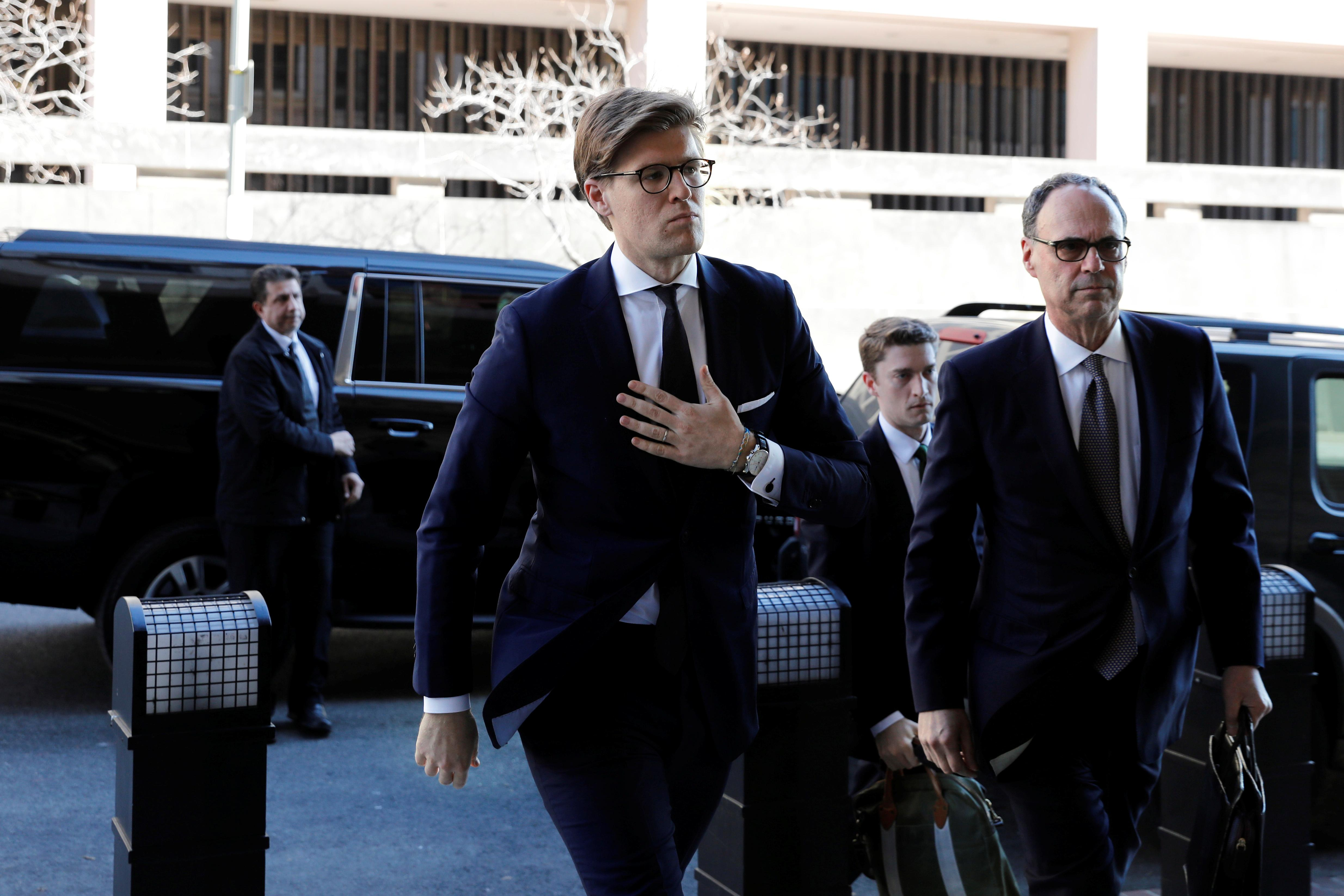 Alex van der Zwaan arrives at a plea agreement hearing at the D.C. federal courthouse in Washington, U.S., February 20, 2018. Yuri Gripas