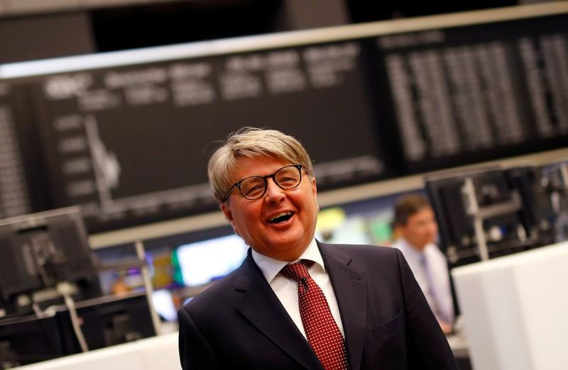 Theodor Weimer, new CEO of German stock exchange Deutsche Boerse AG, smiles as he informs the media about the planned renovations at the trading floor of Frankfurt