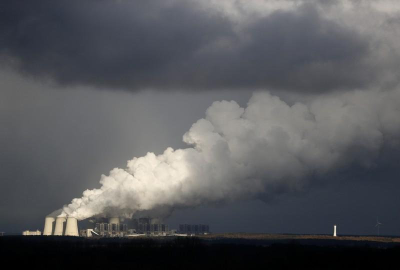 Smoke rises from the coal power plant in Jaenschwalde, Germany February 3, 2018. Hannibal Hanschke
