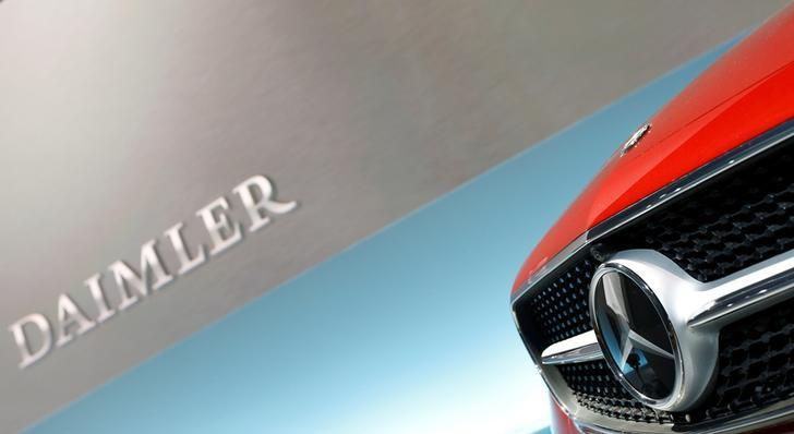 The Mercedes star logo of an E Coupe is pictured before the annual news conference of Daimler AG in Stuttgart, Germany, February 2, 2017.   Michaela Rehle