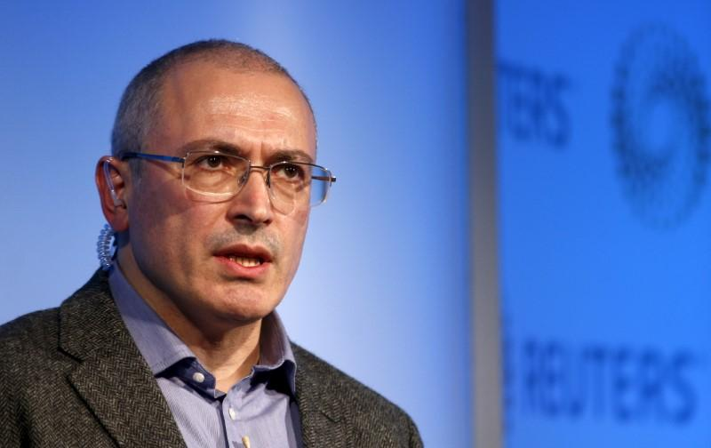 Former Russian tycoon Mikhail Khodorkovsky speaks during a Reuters Newsmaker event at Canary Wharf in London, Britain, November 26, 2015. Peter Nicholls
