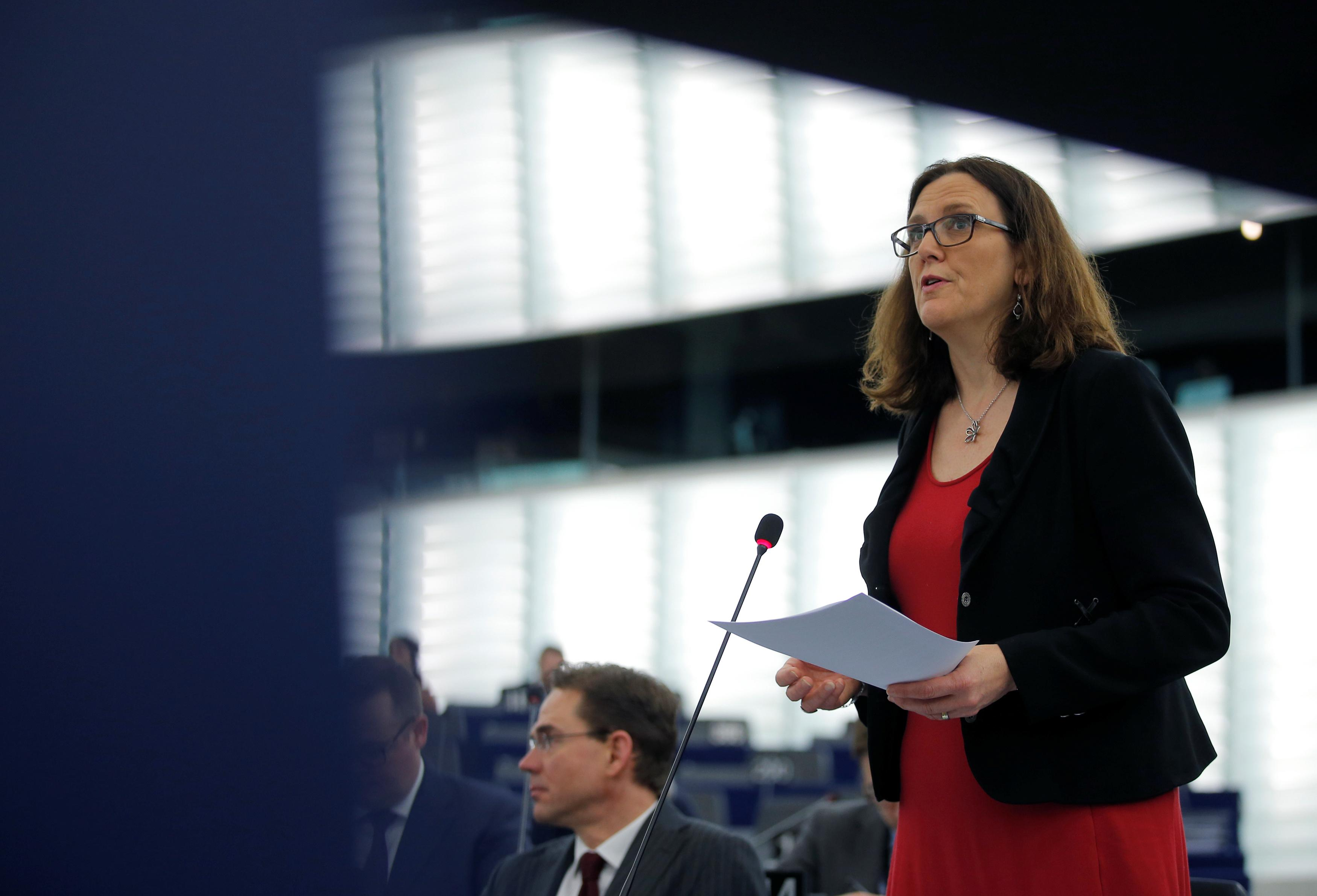 European Trade Commissioner Cecilia Malmstrom addresses the European Parliament during a debate on the US decision to impose tariffs on steel and aluminium in Strasbourg, France March 14, 2018.  Vincent Kessler