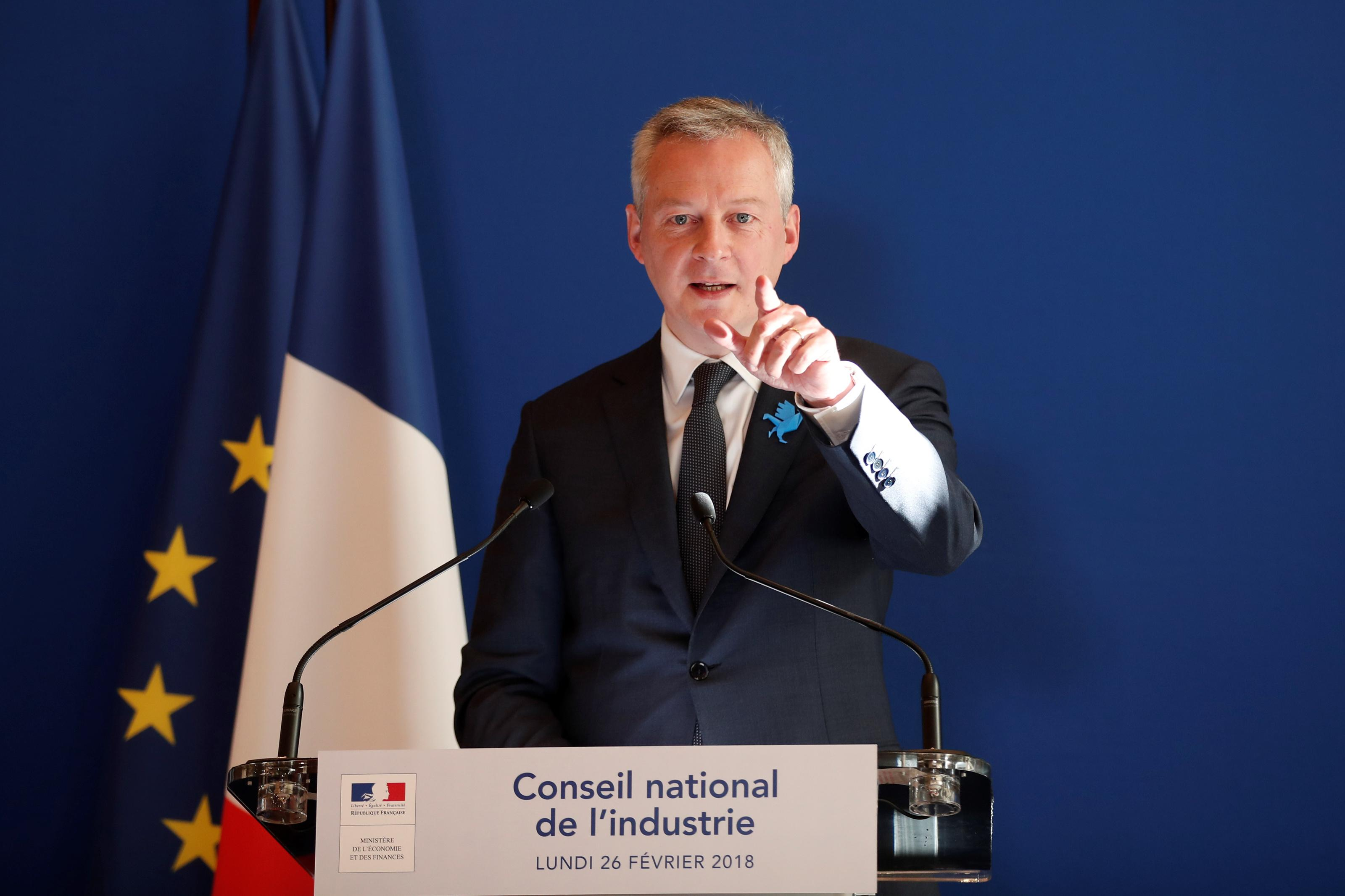 French Finance Minister Bruno Le Maire speaks during a news conference after a National Council of Industry at the Bercy Finance Ministry in Paris, France, February 26, 2018. Benoit Tessier