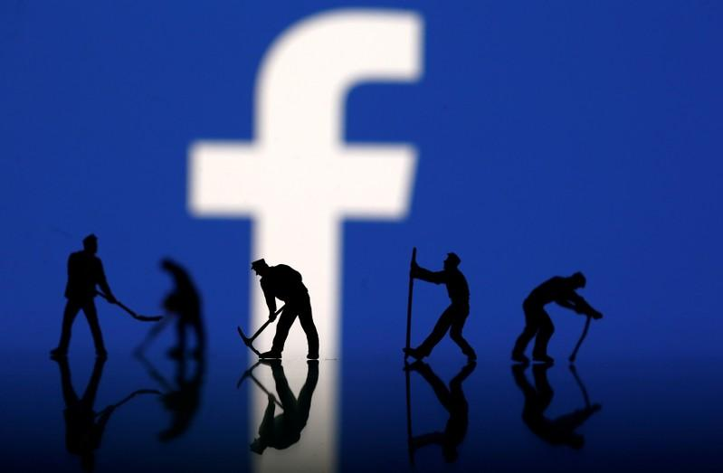 A photo illustration depicts the mining of Facebook data after allegations that a British political consultancy had accessed users