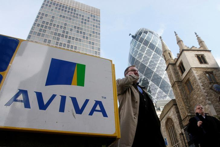 Pedestrians walk past an Aviva logo outside the company's head office in the city of London, Britain, March 5, 2009. Stephen Hird