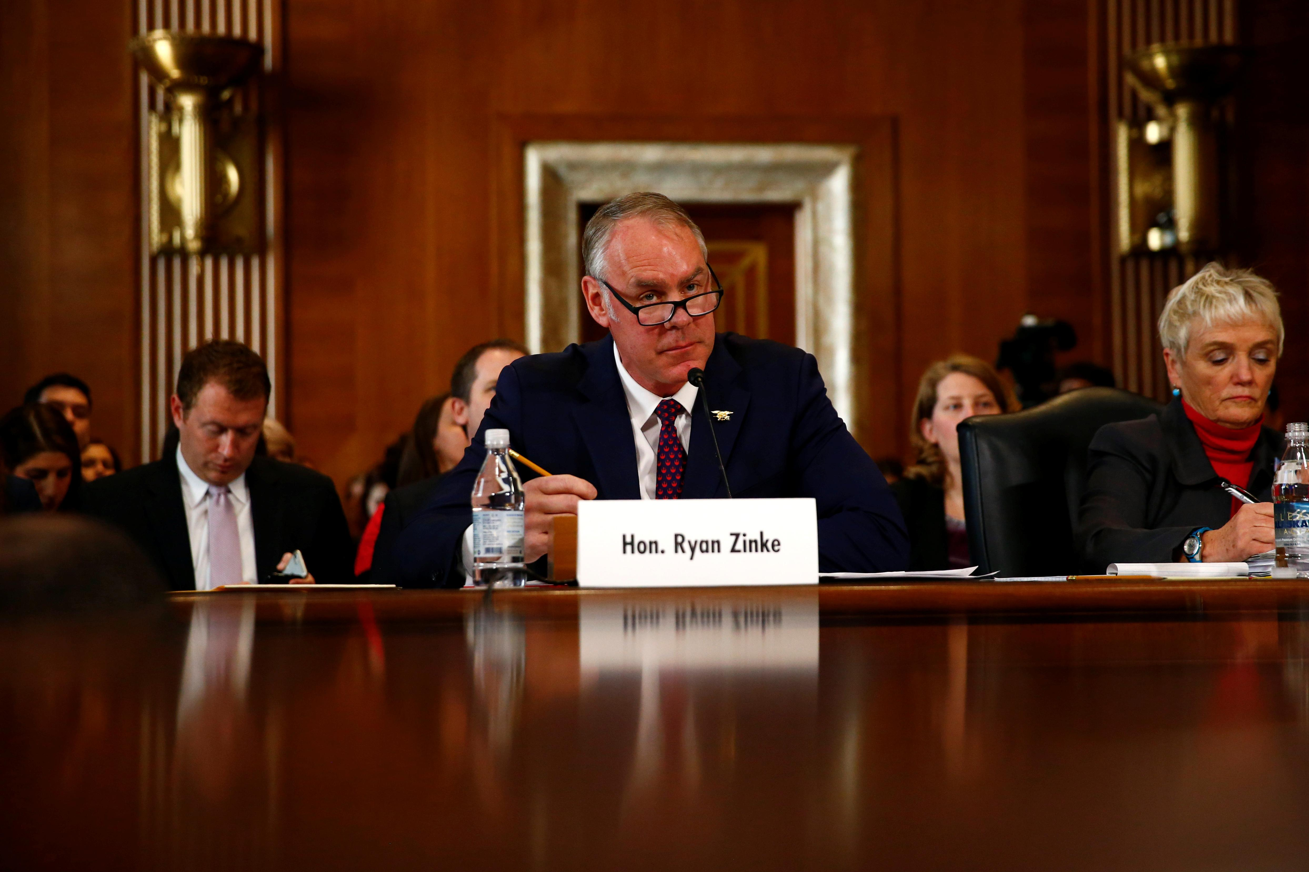 U.S. Secretary of the Interior Ryan Zinke testifies in front of the Senate Committee on Energy and Natural Resources on Capitol Hill in Washington, U.S. March 13, 2018. Eric Thayer