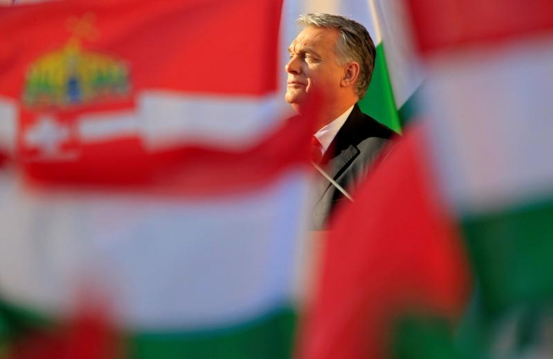 Hungarian Prime Minister Viktor Orban addresses a campaign rally in Szekesfehervar, Hungary, April 6, 2018. Bernadett Szabo