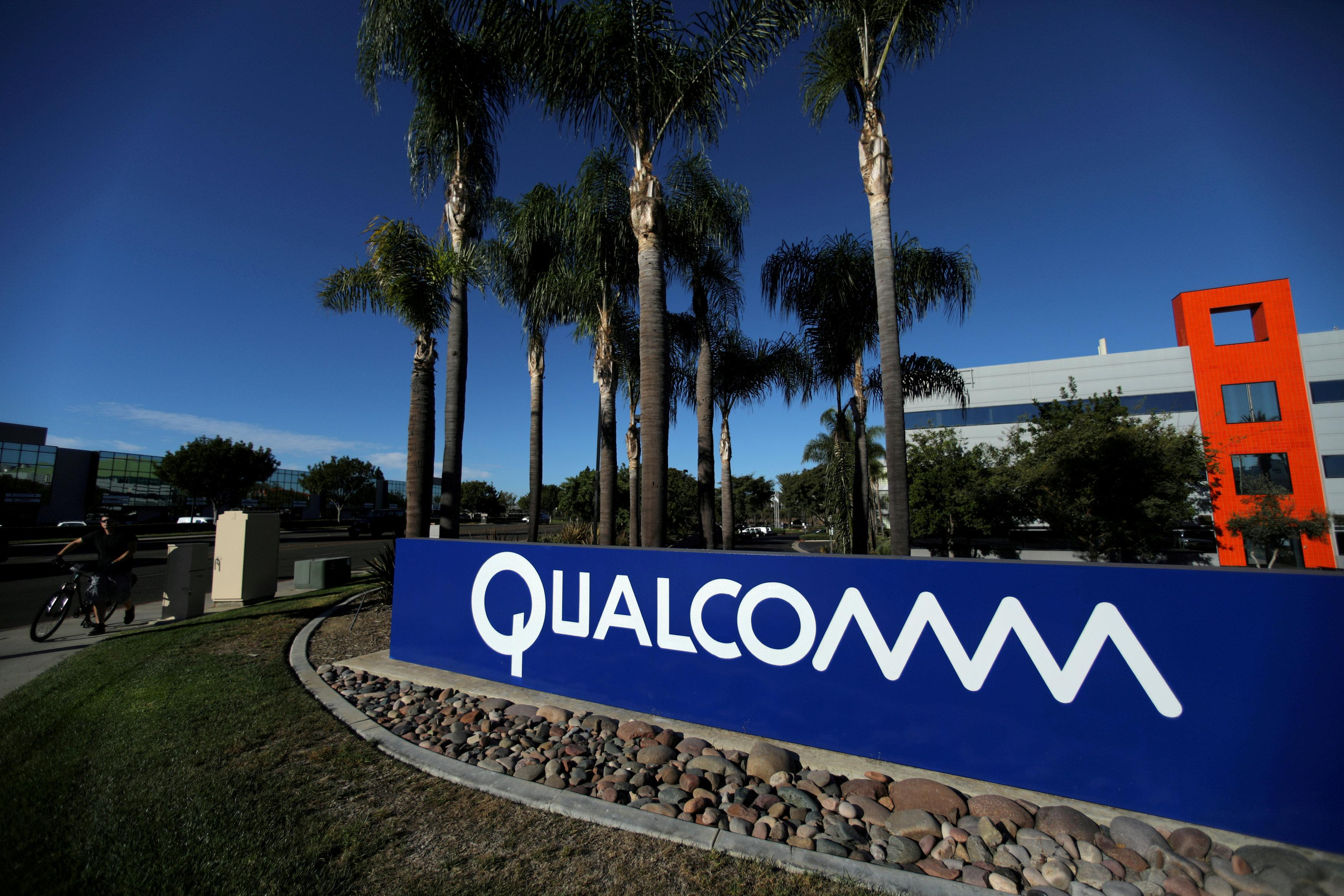 A sign on the Qualcomm campus is seen in San Diego, California, U.S. November 6, 2017. Mike Blake