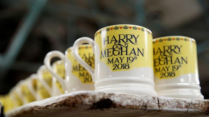 Souvenir mugs to commemorate the wedding of Britain's Prince Harry and Meghan Markle are stacked at the Emma Bridgewater Factory, in Hanley, Stoke-on-Trent, Britain March 28, 2018. Carl Recine