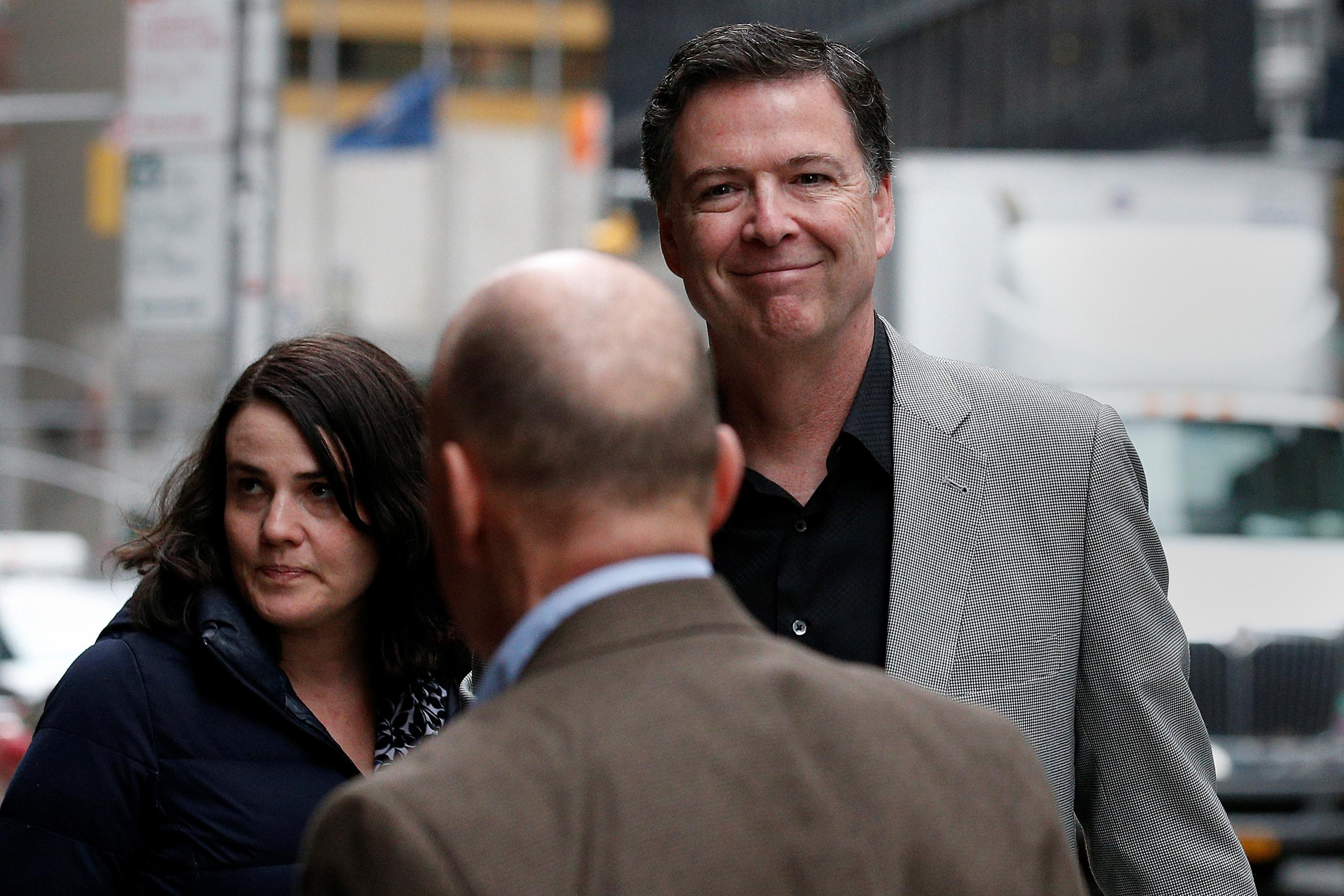 Former FBI Director James Comey arrives for a taping of 'The Late Show with Stephen Colbert' in New York City, April 17, 2018. Brendan McDermid