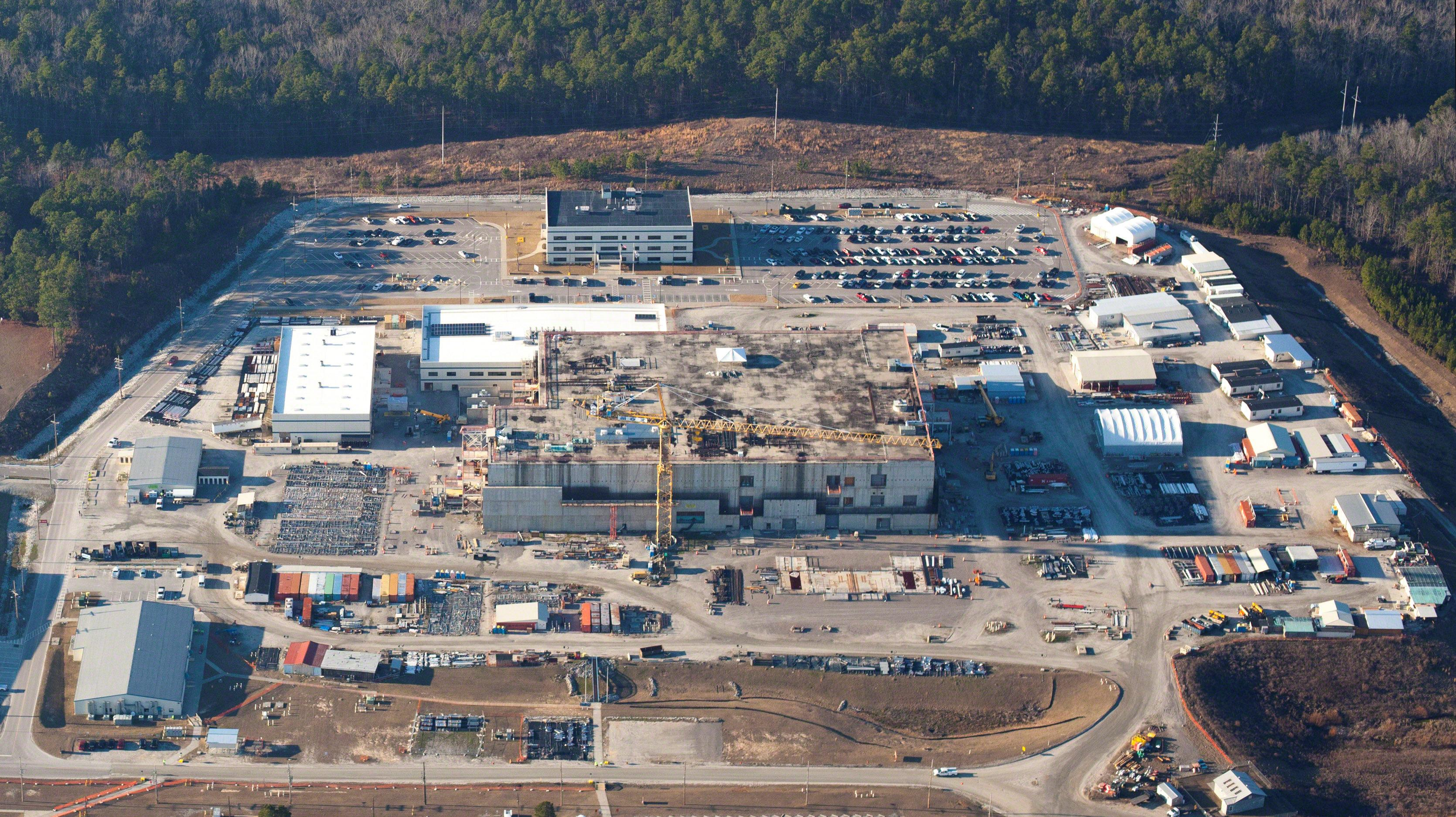 The U.S. Energy Department's Savannah River Site, with the unfinished building which was meant to make plutonium safe but now may not be finished until 2048, is seen in this aerial image, taken near Aiken, South Carolina, U. S. January 31, 2018.    High Flyer © 2018/Handout via