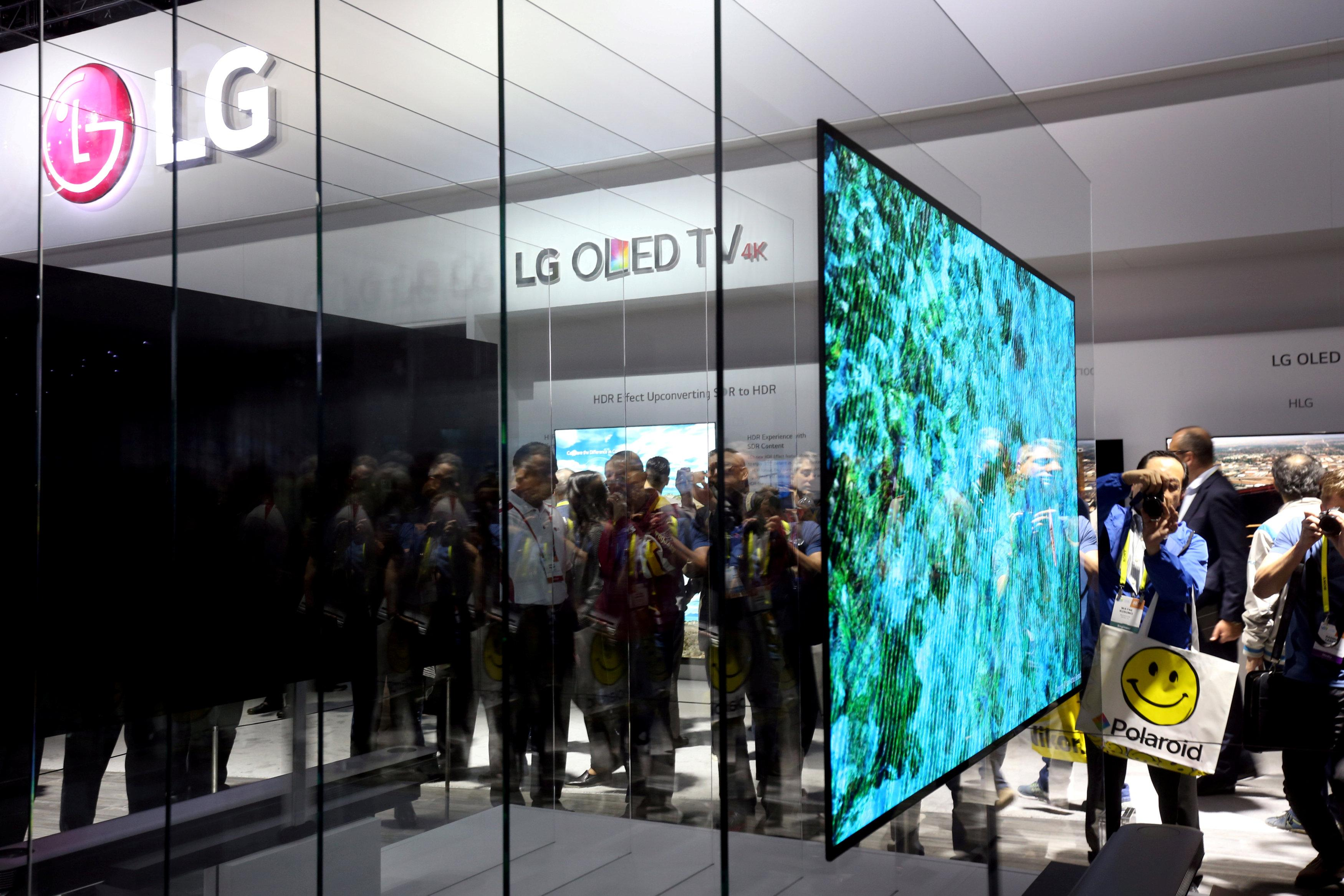 A 77-inch LG Signature W OLED television is displayed during the 2017 CES in Las Vegas, Nevada, U.S., January 5, 2017. Steve Marcus