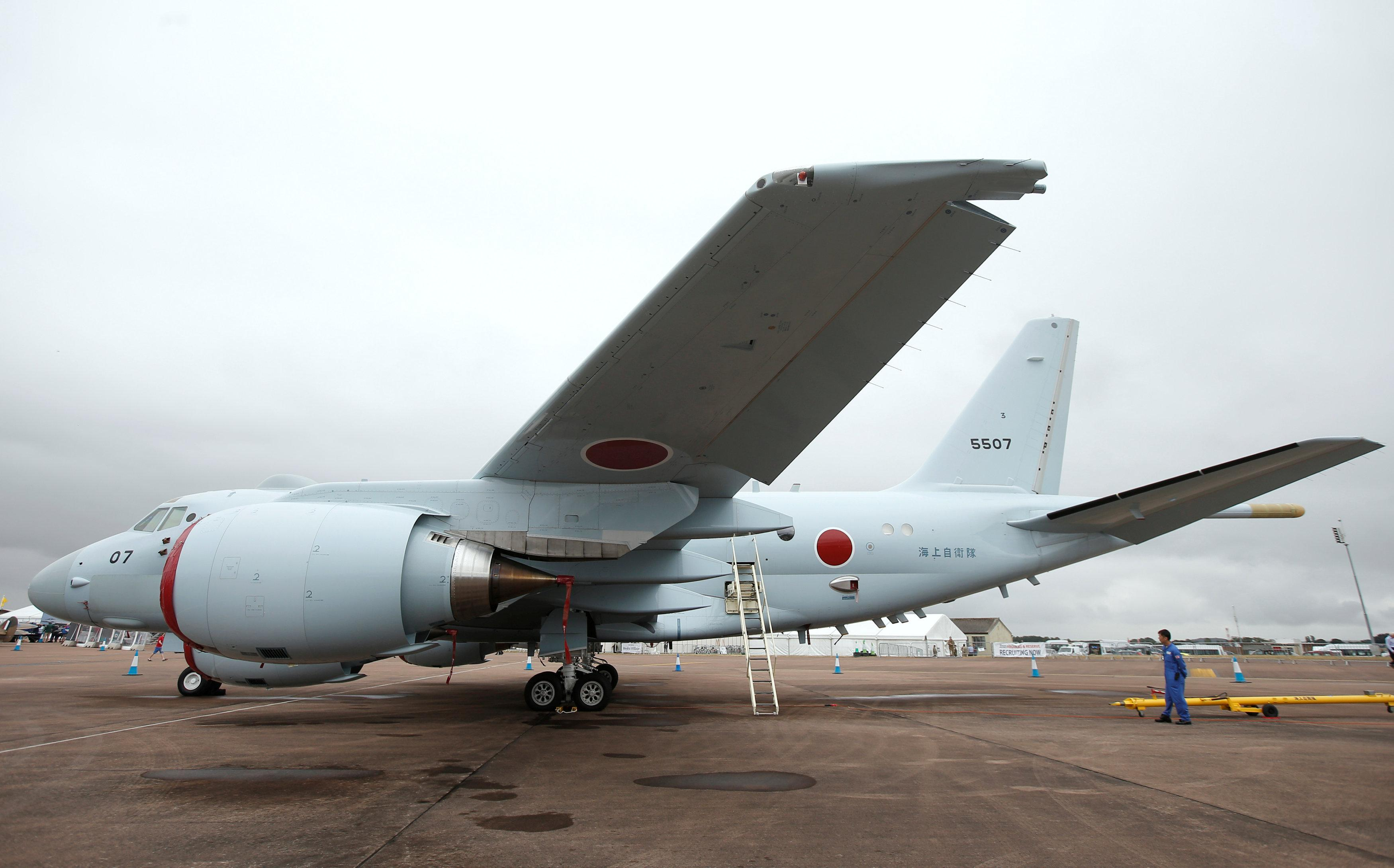 A Japanese Maritime Self-Defense Force (JMSDF) Kawasaki P-1 maritime patrol aircraft is seen parked during the Royal International Air Tattoo at RAF Fairford, Britain July 17, 2015.  Peter Nicholls