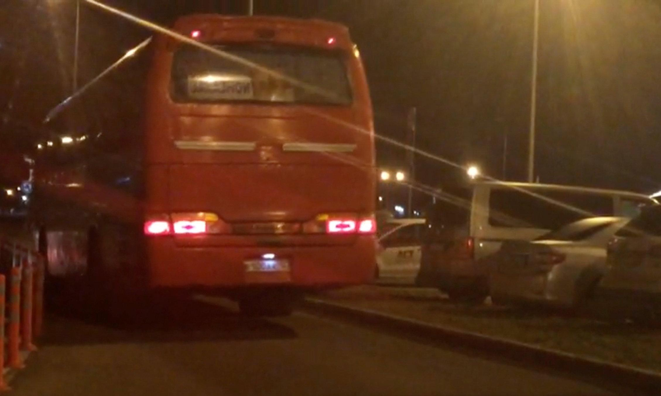 A still image from a video footage taken on April 6, 2018 shows a bus transferring Russian private military contractors leaving an airport outside Rostov-on-Don, Russia. Stringer