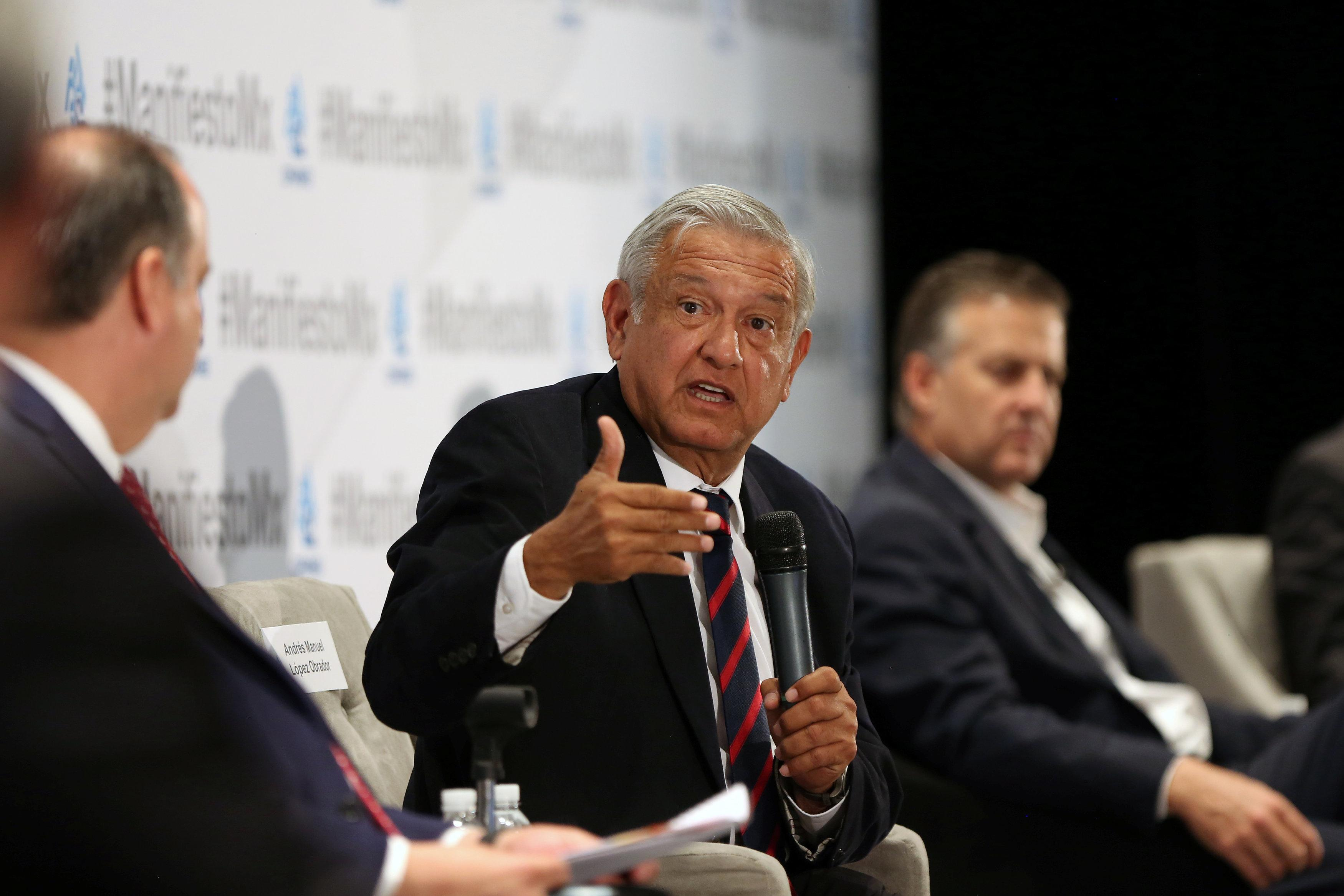 Leftist front-runner Andres Manuel Lopez Obrador of the National Regeneration Movement (MORENA) speaks during an event organised by Mexican Employers