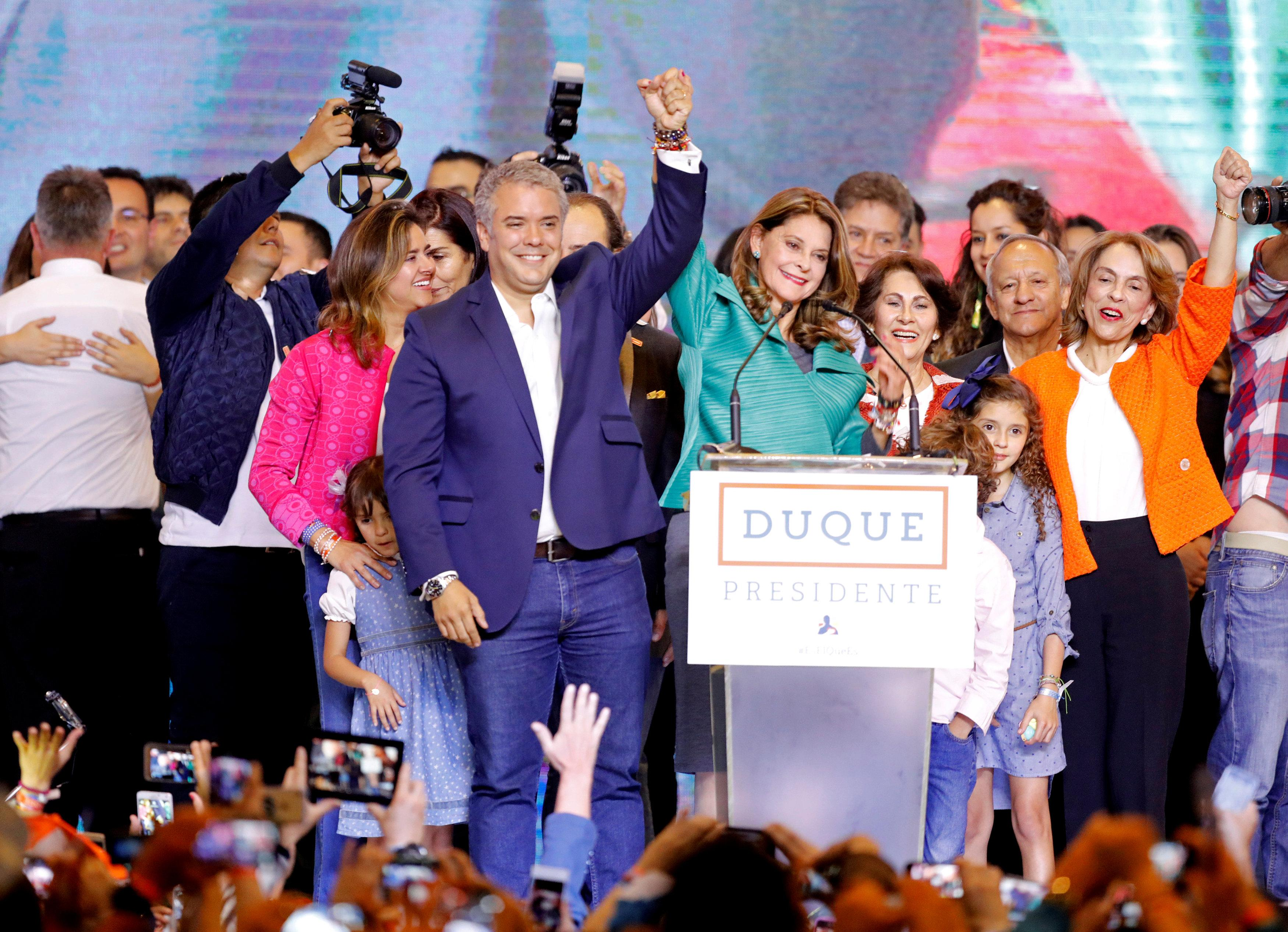 Presidential candidate Ivan Duque and his candidate for Vice President Marta Lucia Ramirez celebrate after he won the presidential election in Bogota, Colombia, June 17, 2018.  Andres Stapff