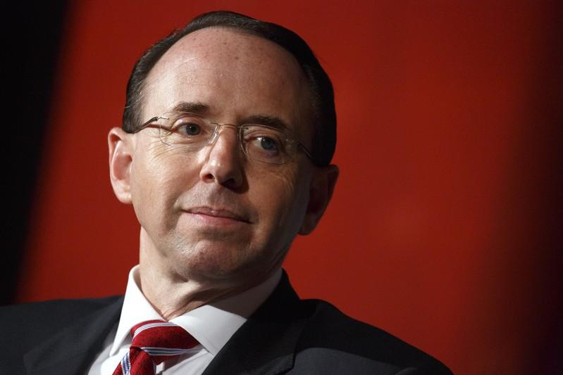 U.S. Deputy Attorney General Rod Rosenstein waits to speak at the Compliance Week 13th Annual Conference in Washington, U.S., May 21, 2018. Joshua Roberts