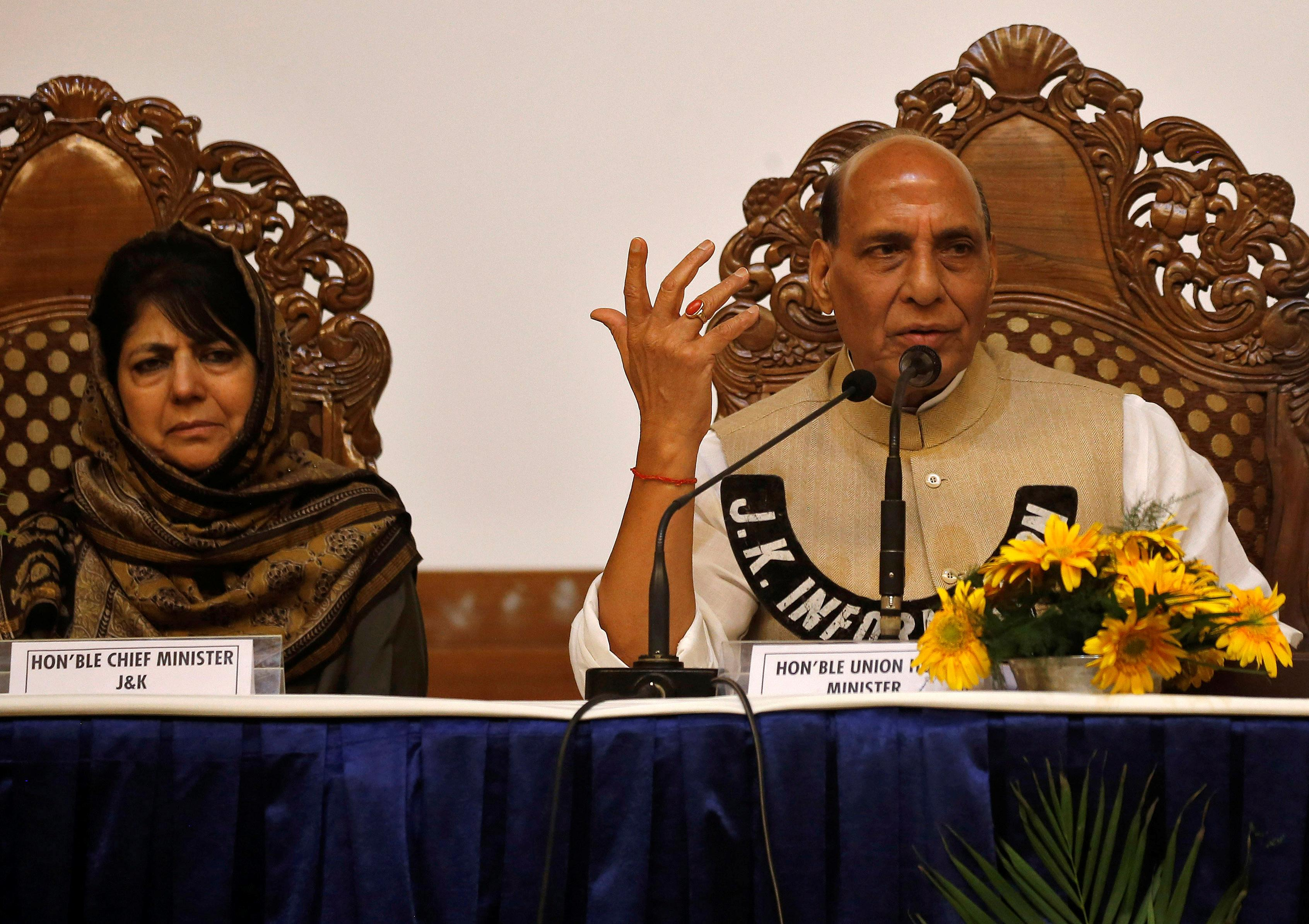 Jammu and Kashmir Chief Minister Mehbooba Mufti and India's Home Minister Rajnath Singh attend a news conference in Srinagar, June 7, 2018. Danish Ismail
