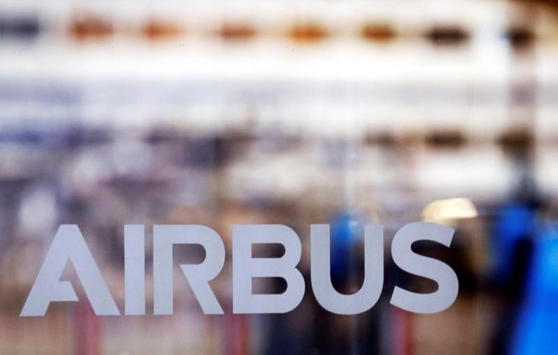 Logo of Airbus is pictured at the Airbus A380 final assembly line at Airbus headquarters in Blagnac, near Toulouse, France, March 21, 2018. Regis Duvignau