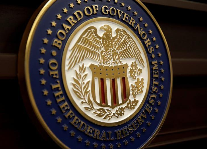 The seal for the Board of Governors of the Federal Reserve System is displayed in Washington, U.S., June 14, 2017.   Joshua Roberts