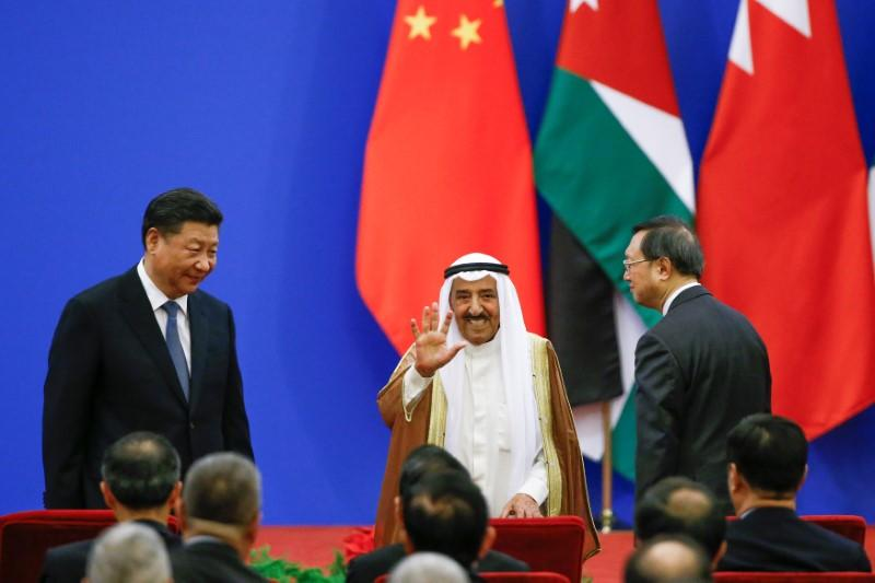 Chinese President Xi Jinping and Kuwait's Emir Sheikh Sabah Al-Ahmad Al- Jaber Al-Sabah attend a China Arab forum at the Great Hall of the People in Beijing, China, July 10, 2018. Thomas Peter