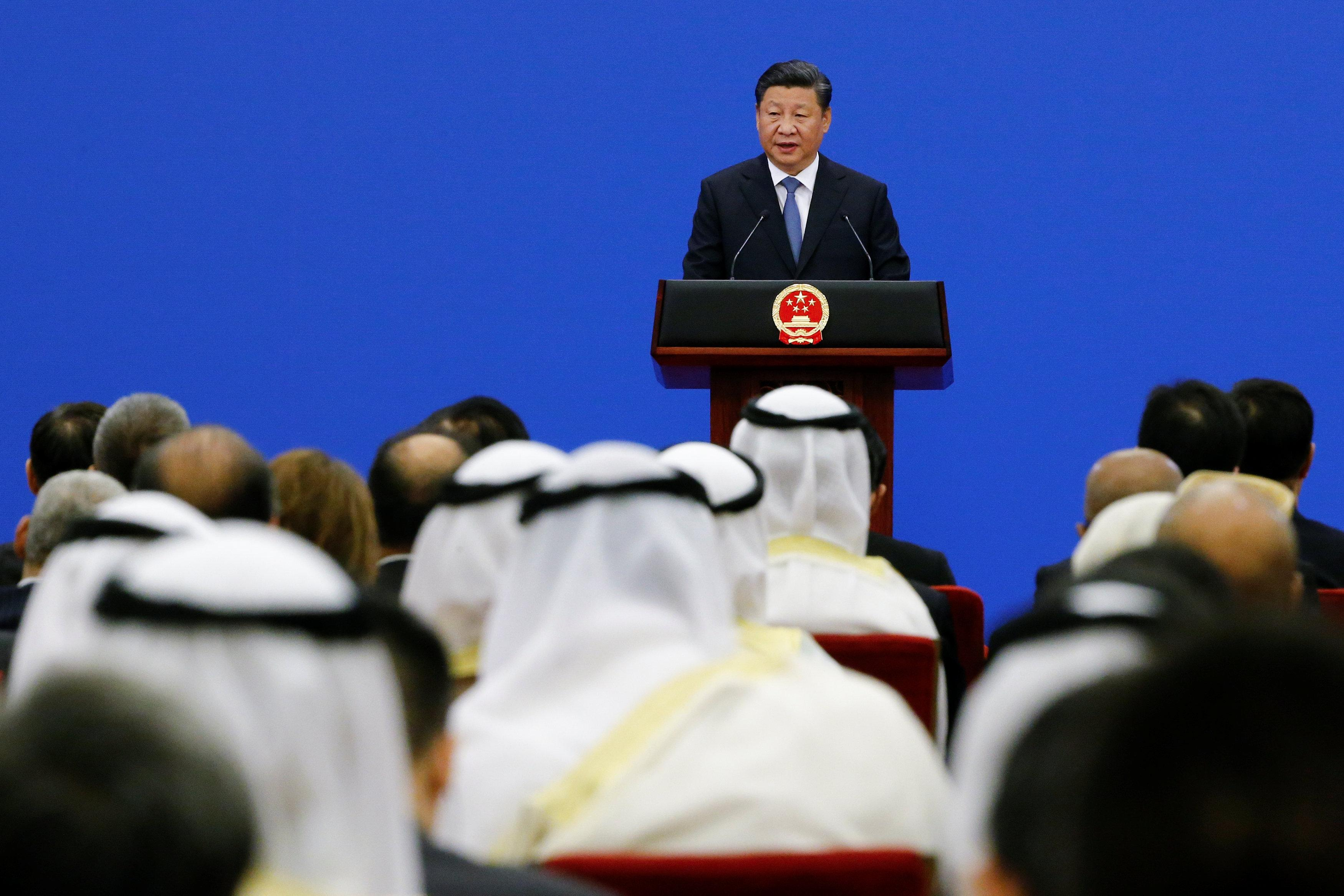 Chinese President Xi Jinping speaks to representatives of Arab League member states at a China Arab forum at the Great Hall of the People in Beijing, China, July 10, 2018. Thomas Peter