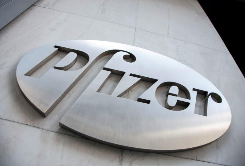 The Pfizer logo is seen at their world headquarters in New York April 28, 2014.  Andrew Kelly