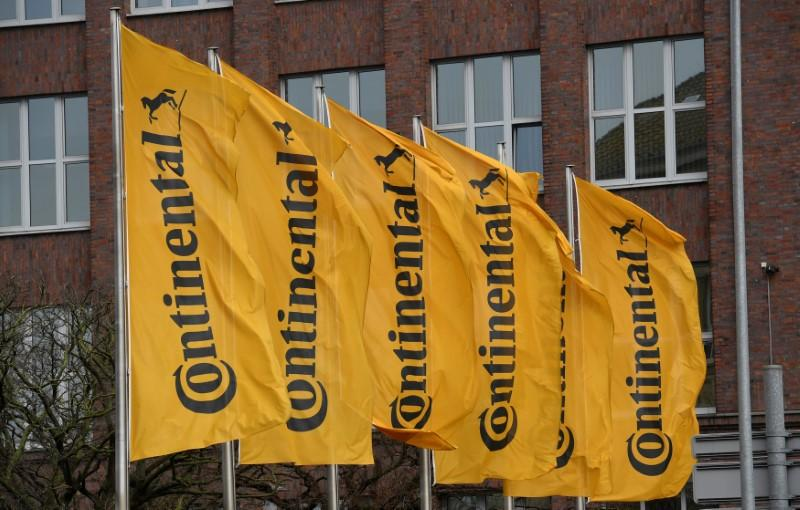 Flags of German tyre company Continental are seen before the annual news conference in Hanover, Germany March 2, 2017. Fabian Bimmer