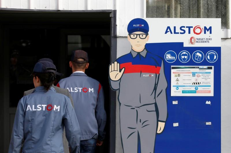 Employees of French engineering group Alstom Aare seen at the Alstom plant in Petite-Foret near Valenciennes, France, September 29, 2017.  Pascal Rossignol