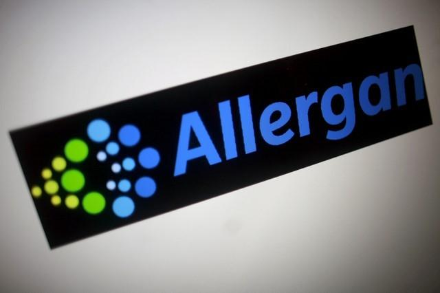 The Allergan logo is seen in this photo illustration November 23, 2015.  Thomas White/Illustration