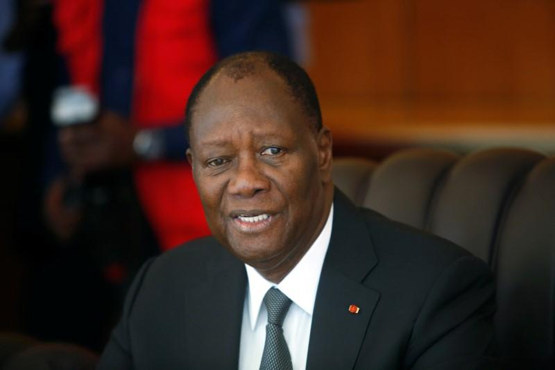 Ivory Coast President Alassane Ouattara speaks during the first cabinet meeting at the presidential palace in Abidjan, Ivory Coast July 11, 2018. Luc Gnago