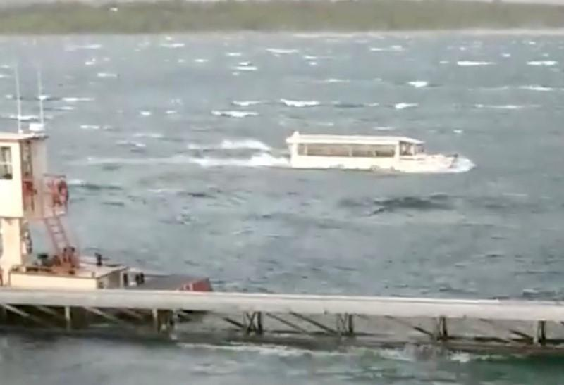 A duck boat is seen at Table Rock Lake in Branson, Missouri, U.S., July 19, 2018 in this picture grab obtained from social media video. Ron Folsom/via