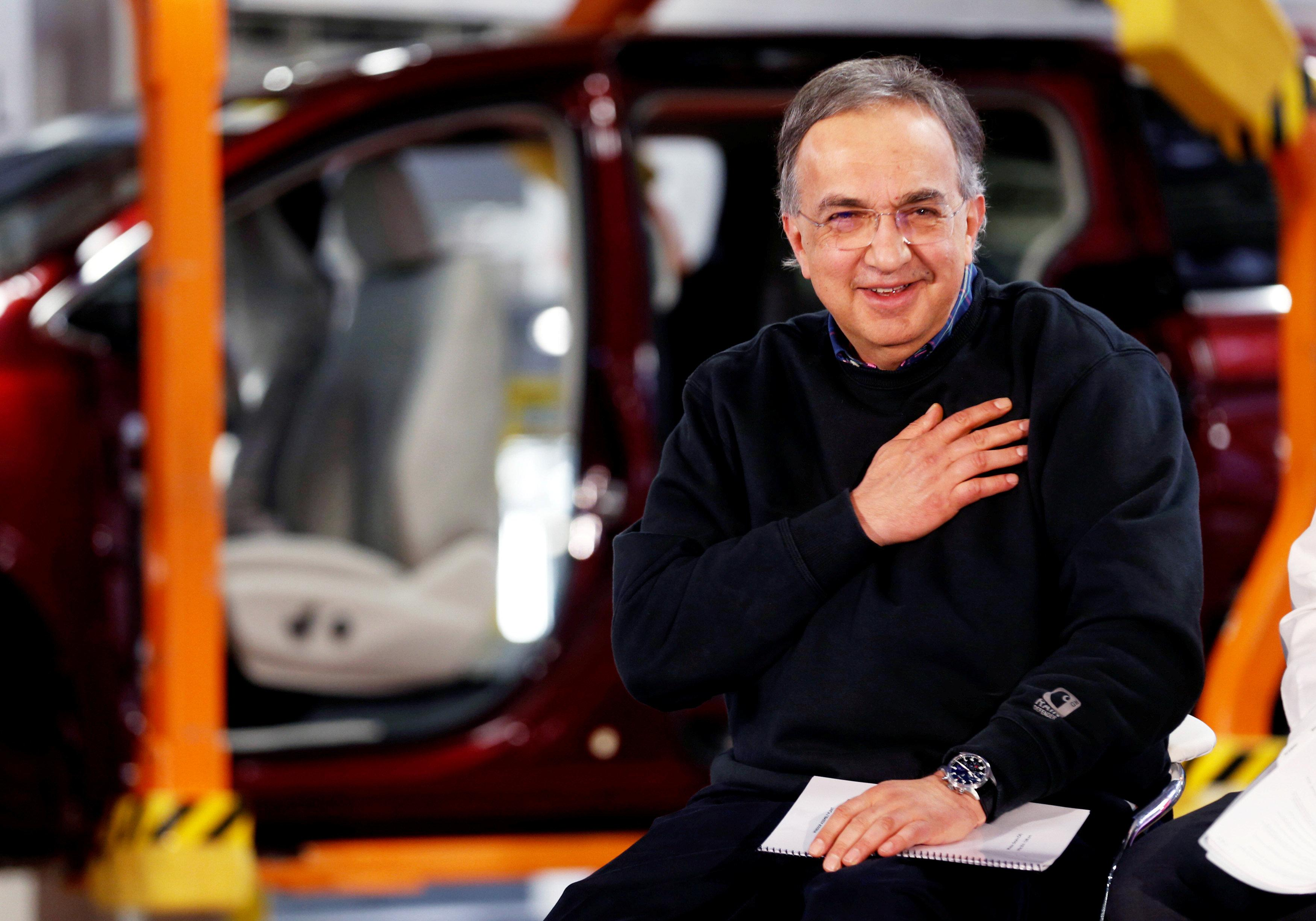 FCA CEO Sergio Marchionne attends the celebration of the production launch of the all-new 2017 Chrysler Pacifica minivan at the FCA Windsor Assembly plant in Windsor, Ontario, U.S. May 6, 2016. Rebecca Cook