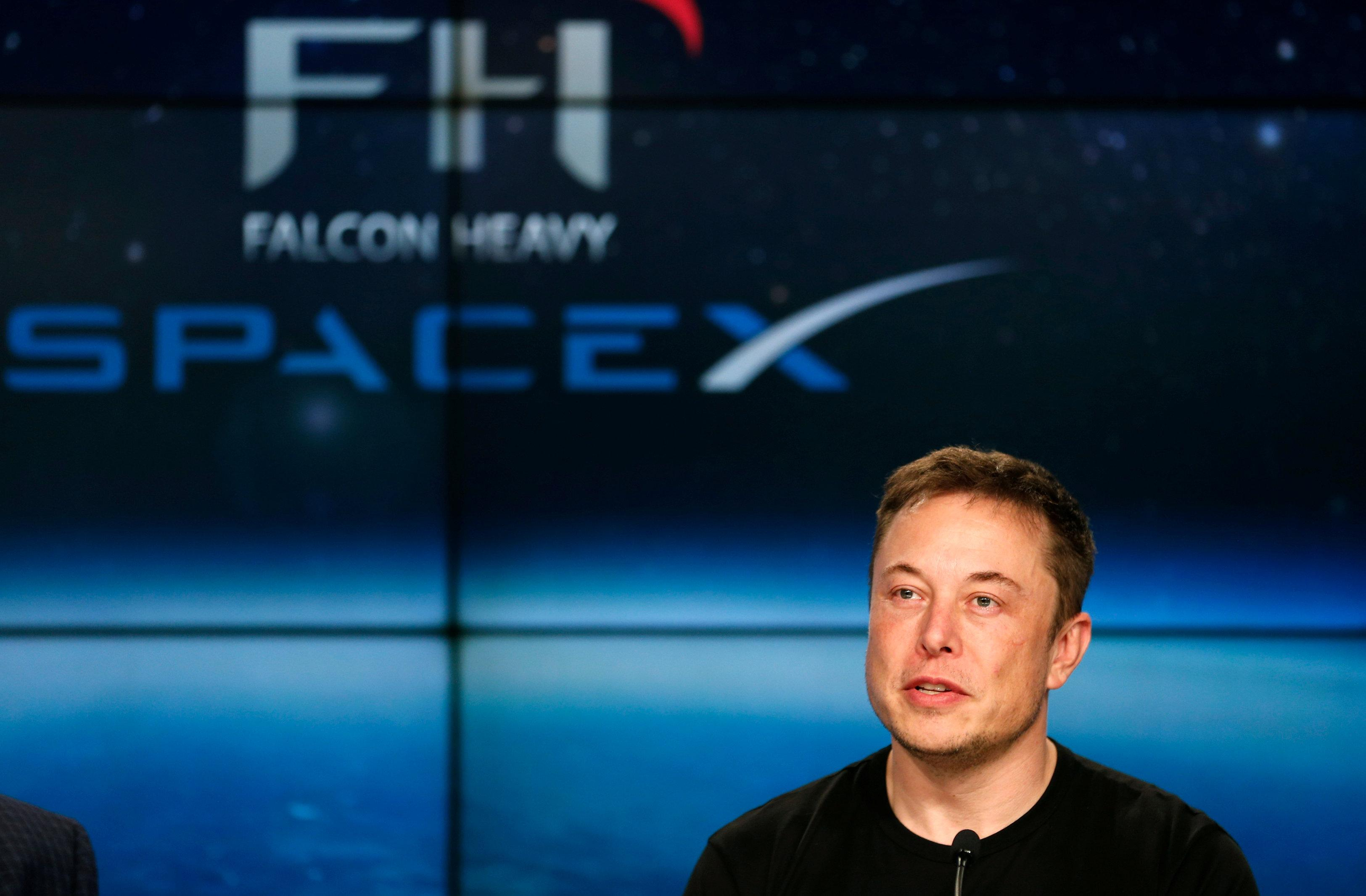 SpaceX founder Elon Musk speaks at a press conference following the first launch of a SpaceX Falcon Heavy rocket at the Kennedy Space Center in Cape Canaveral, Florida, U.S., February 6, 2018. Joe Skipper