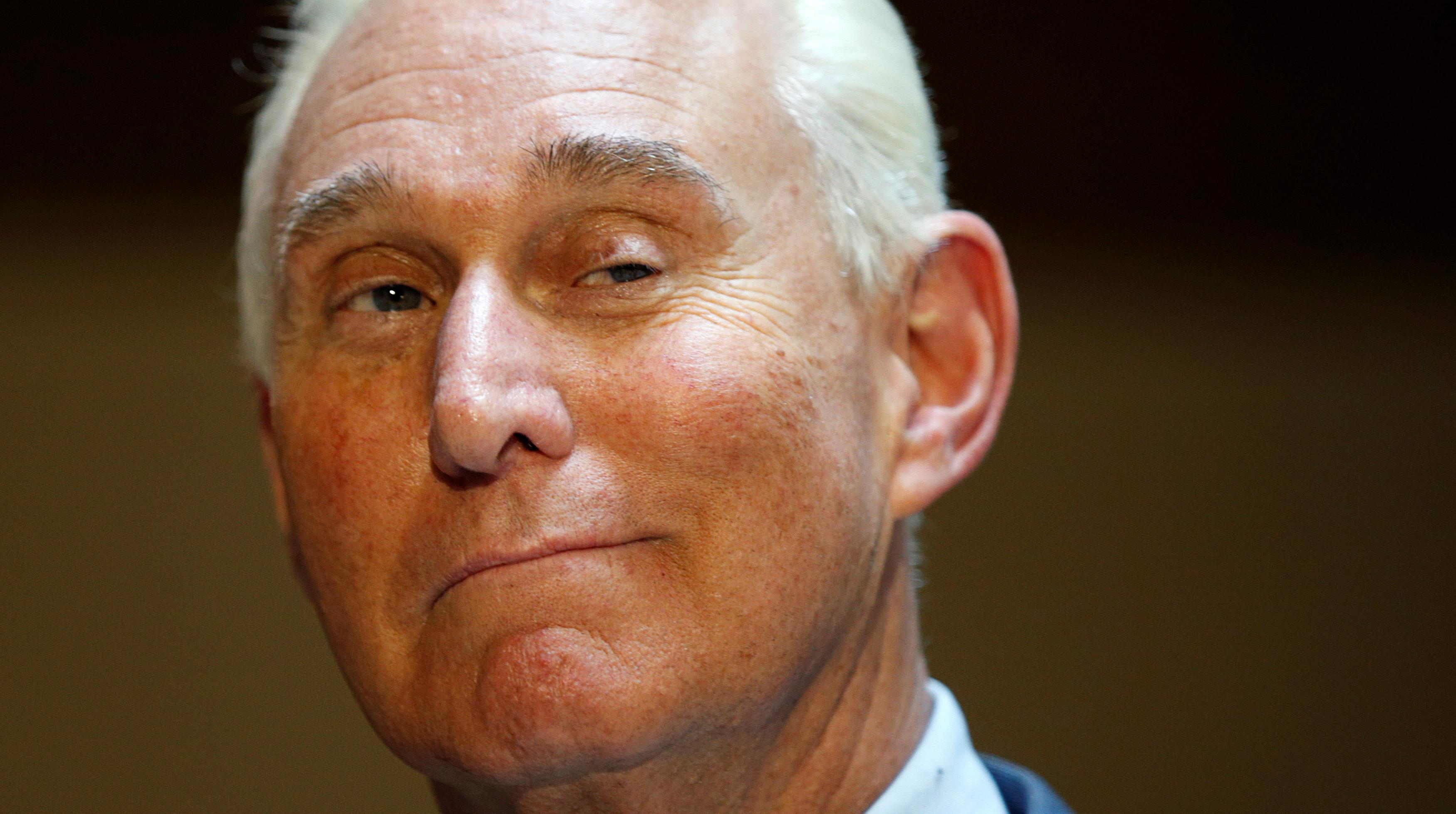 U.S. political consultant Roger Stone, a longtime ally of President Donald Trump, speaks to reporters after appearing before a closed House Intelligence Committee hearing investigating Russian interference in the 2016 U.S. presidential election at the U.S. Capitol in Washington, U.S., September 26, 2017.  Kevin Lamarque