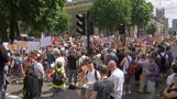 Protesters assemble outside UK PM's London residence