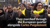Catalan separatists march near EU institutions in Brussels