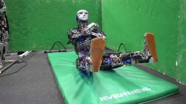Exercising robot Kangoro breaks a sweat in the gym