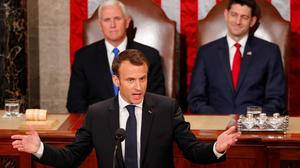 Macron challenges Trump in Congress speech
