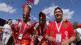 A sea of red as Portugal and Morocco fans arrive at stadium