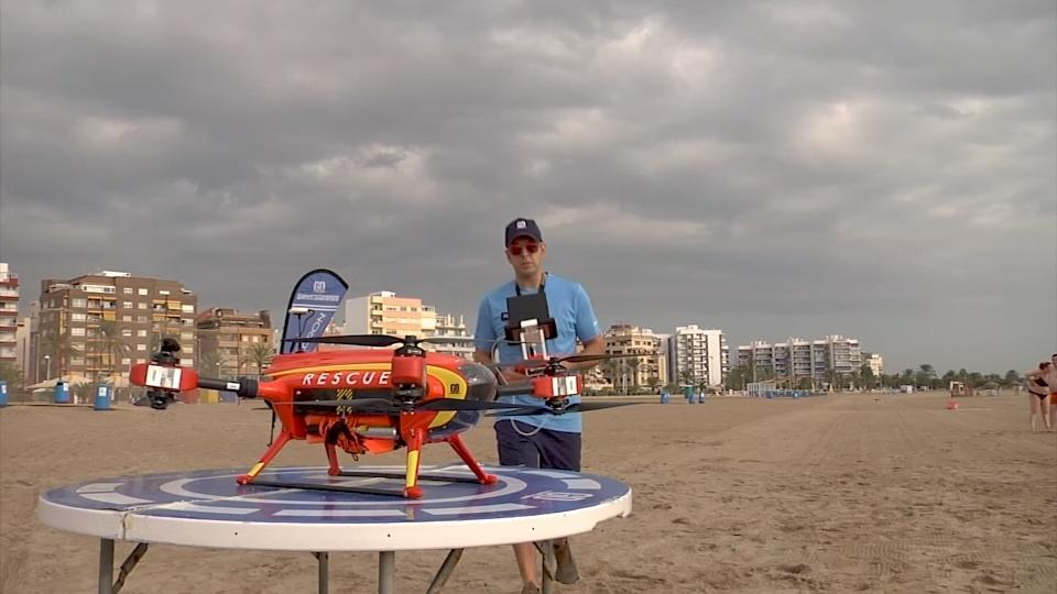 Beach drone drops life jackets to struggling swimmers