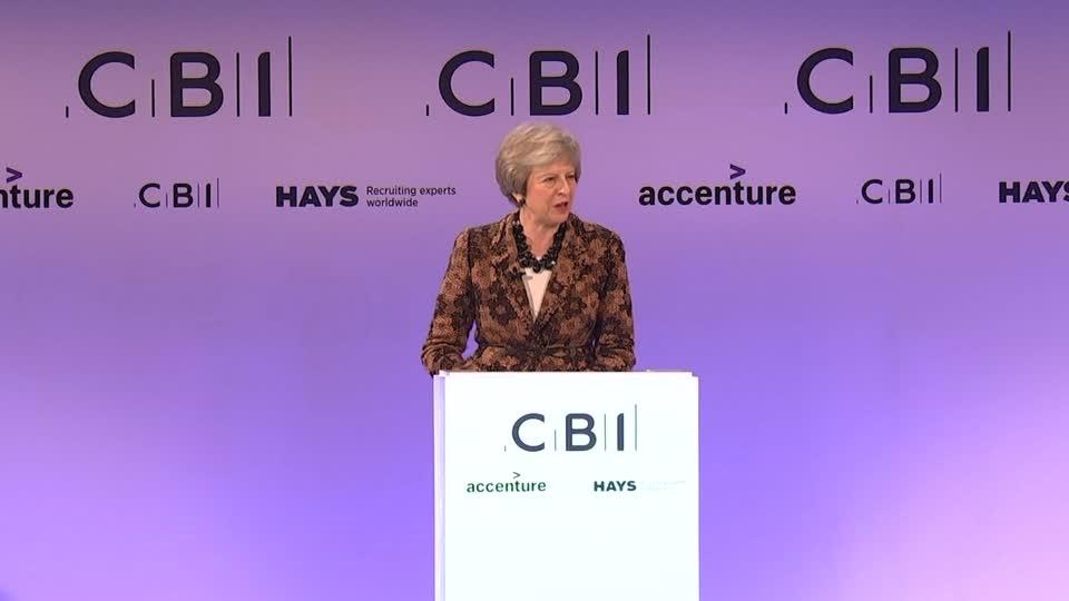 Theresa May seeks business support for Brexit deal at CBI
