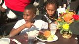 Kevin Hart, Pharrell and Minnie Driver feed LA's homeless for Thanksgiving