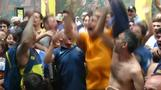 Boca fans celebrate in Buenos Aires after team's first goal