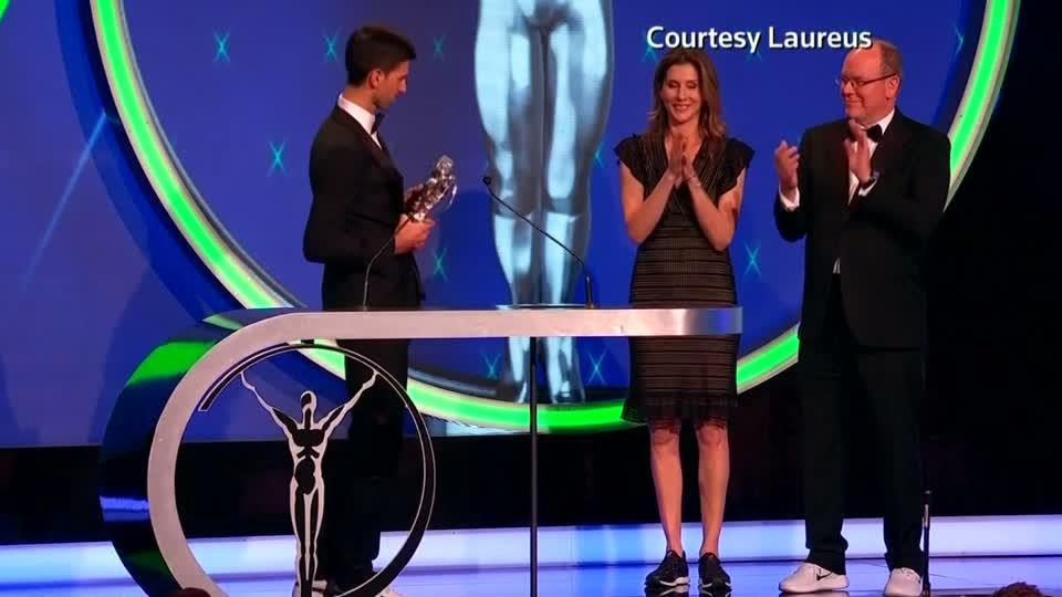 Emotional scenes as Vonn, Djokovic and Biles win Laureus Awards