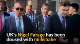 Milkshake thrown on Britain's Farage