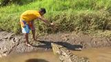 رجل في كوستاريكا يواجه التماسيح الجائعة لتدبير قوت يومه